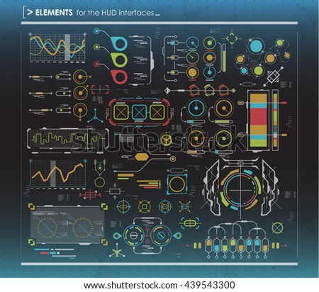 set of black and white infographic elements. Head-up display elements for the web and app. Futuristic user interface. Virtual graphic. - stock vector