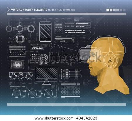 Set Black White Infographic Elements Headup Stock Photo (Photo ...