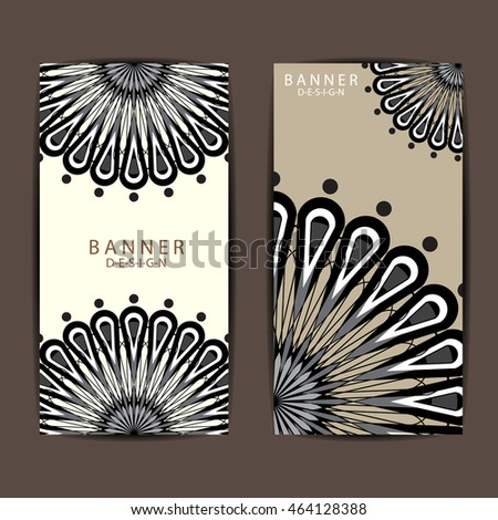 Set of black color mandala  ornament banners and card vector design