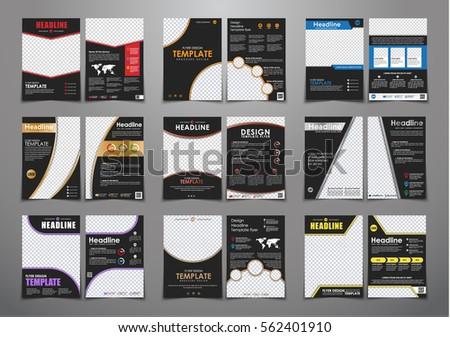 Set Black Flyers Different Geometric Elements Stock Vector 562401910
