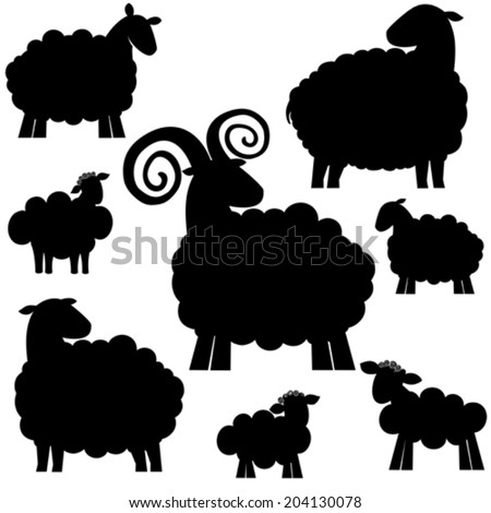 Set of black silhouette sheep icon isolated on white background. Vector illustration  - stock vector