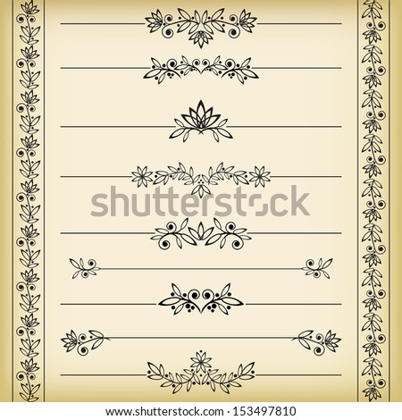 Set of borders. Vector illustration. - stock vector