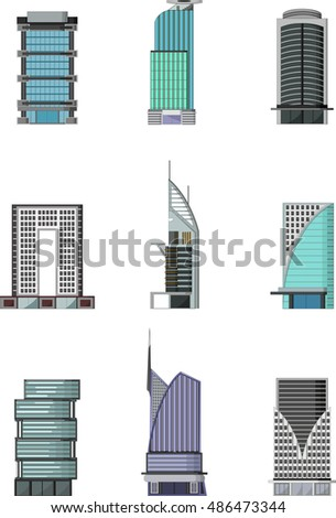 set of Buildings cartoon for you design
