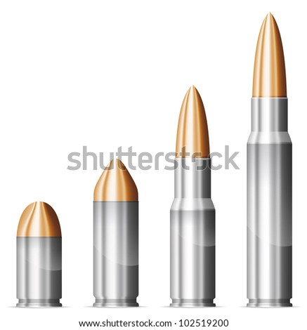 Set of bullets. Vector EPS-10 - stock vector