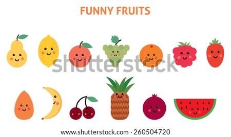 Set of cartoon fruit - stock vector