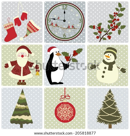 Set of Christmas elements on squares with dots