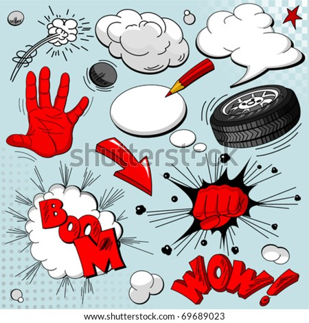 Set of comic book explosions for your design - stock vector