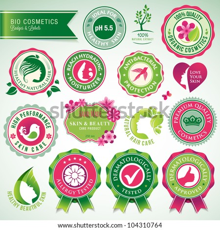 Set of cosmetics badges and labels - stock vector