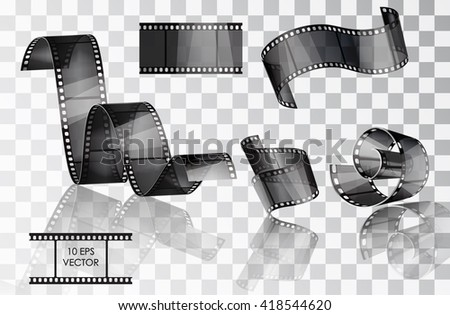 Set of curved photographic film. Film. Vector illustration. Twisted film. Vector slide. Movie scenes. A roll of film media. Isolated objects on a transparent background - stock vector