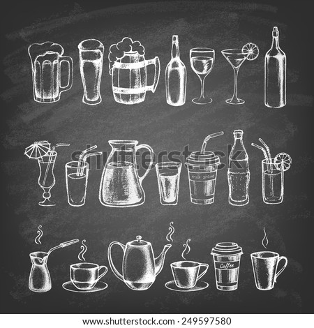 Set of different hand drawn beverages on the blackboard. Vector illustration.  - stock vector