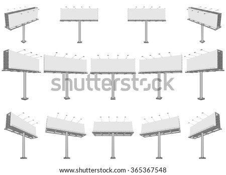 Set of different perspectives advertising construction for outdoor advertising big billboard. Vector billboard for your design. - stock vector