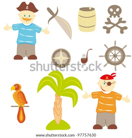 """Set of drawings on a theme """"pirates"""" - stock vector"""