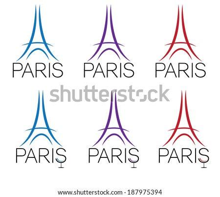 set of eiffel tower - stock vector