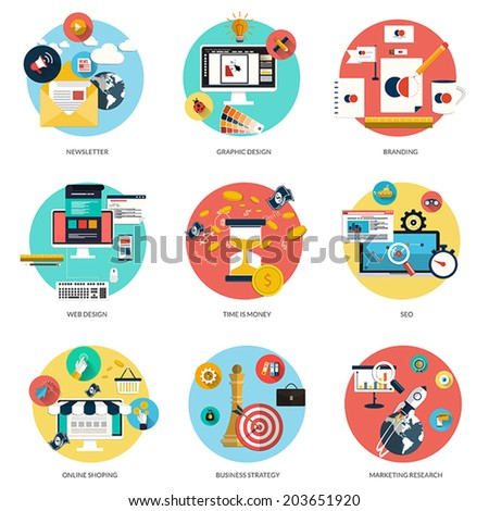 Set of flat and colorful concepts on business and newsletter, graphic design, marketing,web design, branding, online shoping and SEO theme and time is money . Design elements. Vector - stock vector