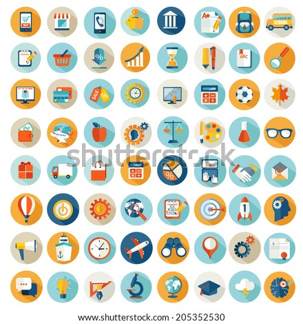 Set of flat design concept icons for online shopping. education, science, finance, business with long shadow.  Design elements for web and mobile applications. - stock vector