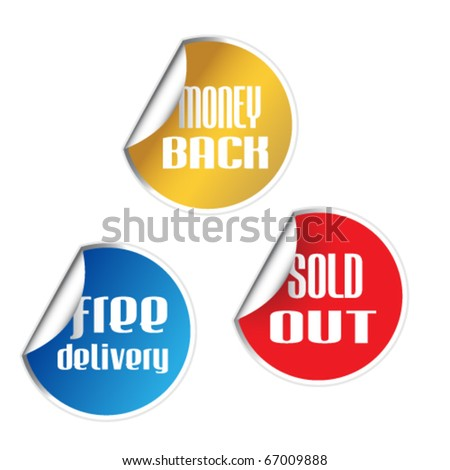 Set of free delivery, money back, sold out stickers