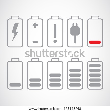 Set of gray battery charge level on white. - stock vector