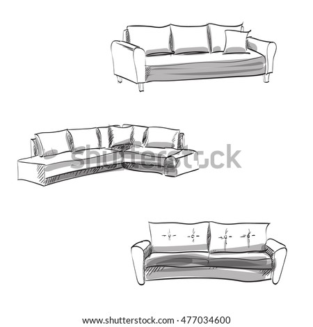 Set Of Hand Drawn Couch Vector Sketch
