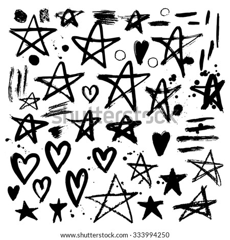Set of hand drawn stars and hearts. Grungy elements. Brush strokes and splatter. Vector illustration. - stock vector