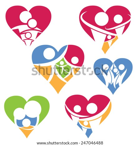 Set of happy family icon in heart .Vector