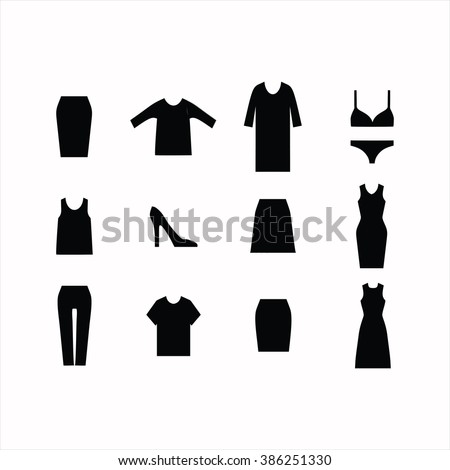 Set of icons of clothes . dress. skirt. pants. jeans. top . shirt . cardigan. coat. shoes . . underwear . underpants. bra . - stock vector