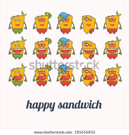 set of illustrations happy sandwich