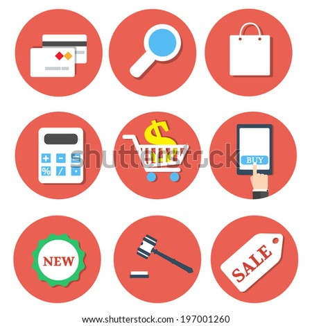Set of modern vector icons and symbols on business. E-commerce flat icons