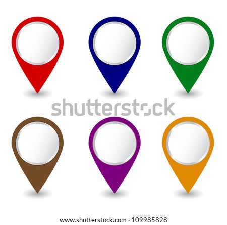 Set of pins Vector - stock vector