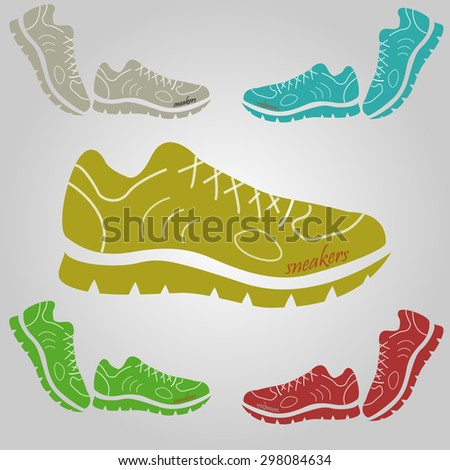 set of sneakers of different colors from different angles - stock vector