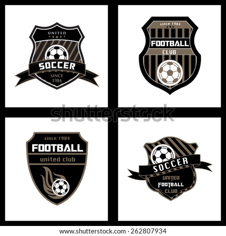 Set of Soccer Football Badge Logo Emblem Design Templates - stock vector