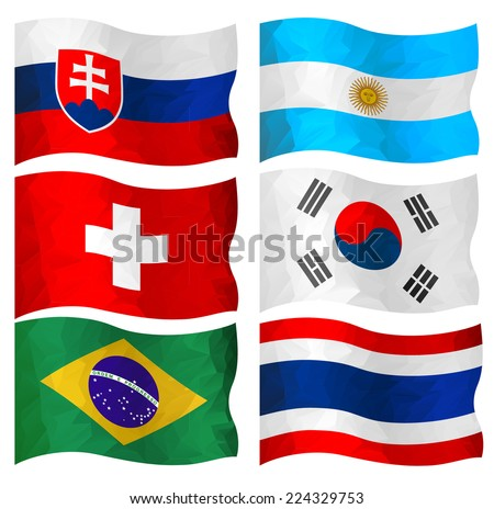 Set of  Swiss, Brazil, South Korea, Slovakia, Thai and Argentine flags in polygonal design.