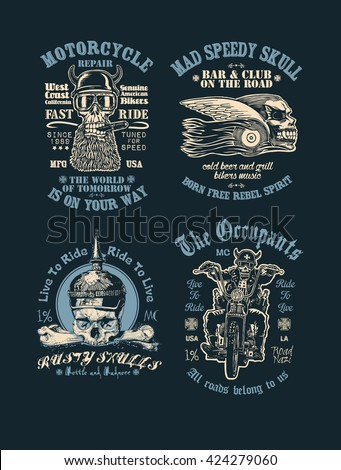 Set of t-shirt prints with bikers, skulls, motorcycle and fonts. vector illustration.