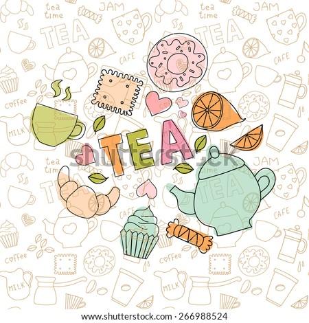 Set of tea doodle items - stock vector