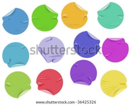 Set of twelve damaged sticky labels with space for your text - stock vector
