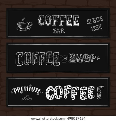 Set of typography design banners on a brick background. Vector illustration.