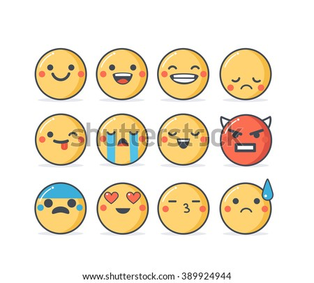 Set of vector emoticons in line style, emoji isolated on white background. Cute icons. - stock vector
