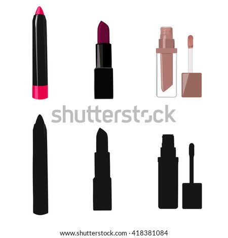 set of vector icons of lipsticks , each image being edited , you can change the color of lipstick - stock vector