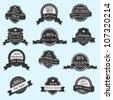 Set of 12 Vector Premium Quality labels - stock vector