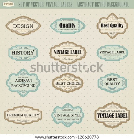 set of vector vintage labels - stock vector
