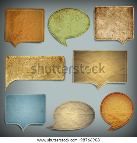 Set of vintage bubbles for speech.Vector old paper texture - stock vector
