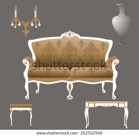 set of vintage furniture: sofa, table, bench, vase and lamp