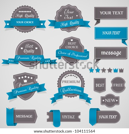 Set of vintage labels and ribbons.Vector design elements - stock vector