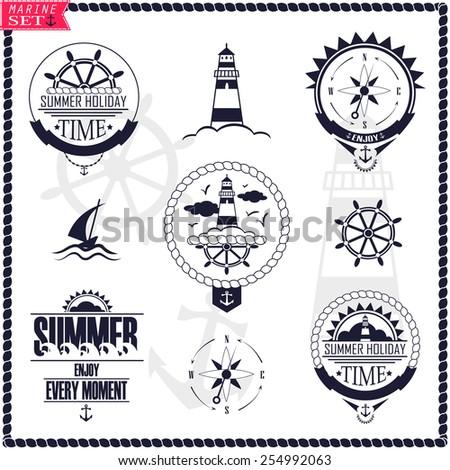 set vintage marine logos vector logotypes stock vector 254992063