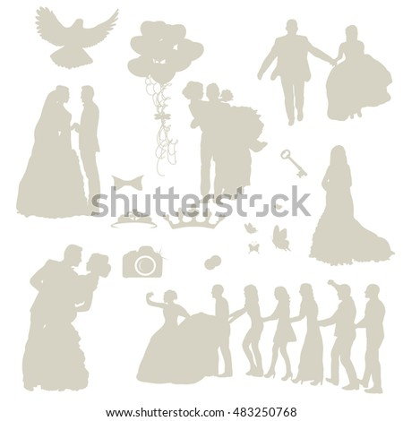 set of wedding icons and silhouettes