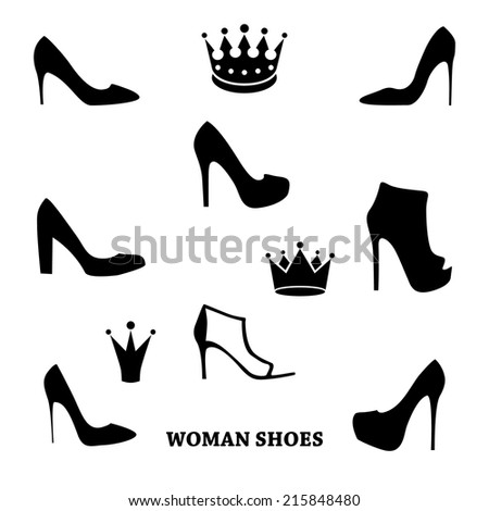Set of woman shoes silhouettes with crowns.  Black female fashion icons isolated on white. Vector illustration. - stock vector