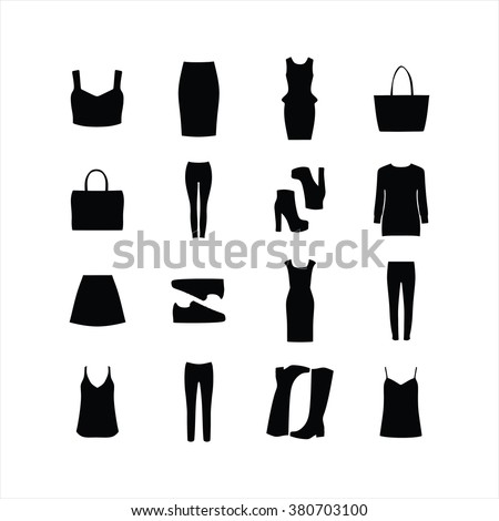 Set of women's clothing . Dress. Top . Blouse. jumper. Pants. A bag. Shoes Sneakers . boots - stock vector