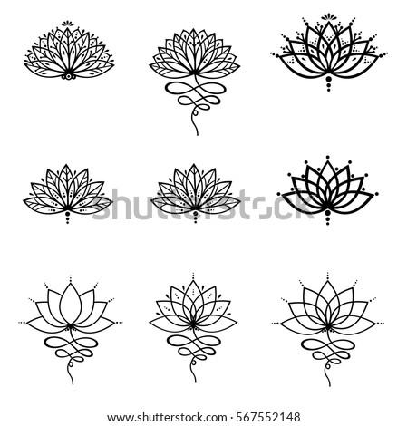 Set ornamental lotus flower vector illustrtation tattoo, patterned Indian paisley