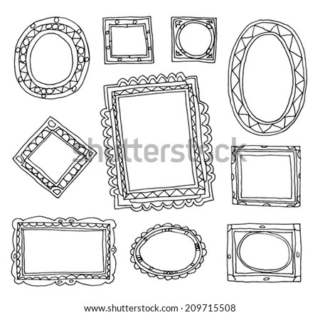 Set picture frames, hand drawn vector illustration. - stock vector