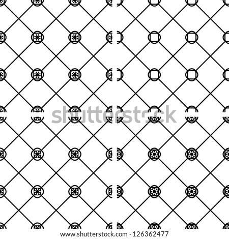 Set seamless vector geometric tile pattern black and white