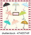 8 set vector collection of colorful umbrellas - stock vector
